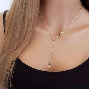 Jewelry - 4 for $25 cross with cz tassel necklace
